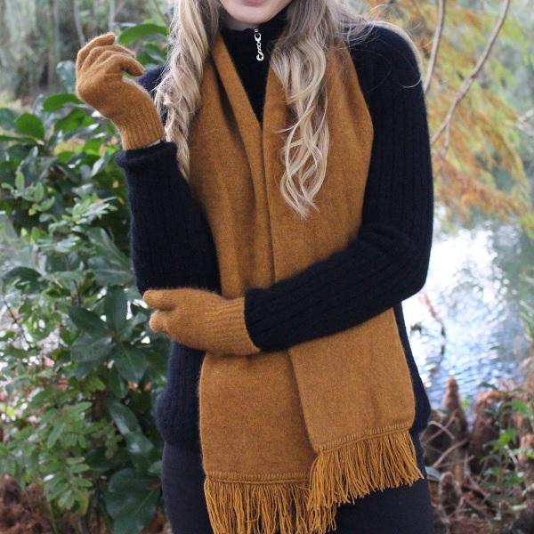 【金色】雙層紐西蘭貂毛羊毛圍巾 圍巾,保暖,羊毛,保暖圍巾,羊毛圍巾