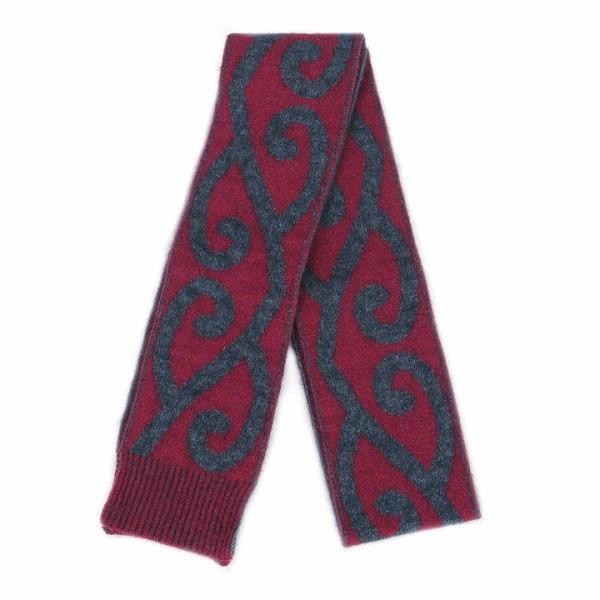 特長雙面蕨葉紐西蘭貂毛羊毛圍巾 雙層保暖圍巾-覆盆子桃紅X炭灰 保暖圍巾,羊毛圍巾,圍巾