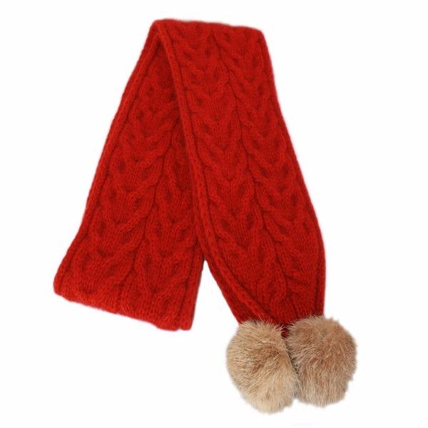 【南瓜紅】兔毛球麻花紐西蘭貂毛羊毛圍巾 立體麻花圍巾-粗針織毛線圍巾-保暖圍巾 圍巾,羊毛圍巾,毛線圍巾,保暖圍巾,圍巾女