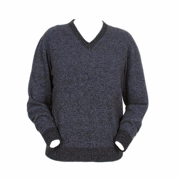 炭灰色【男裝】V領紐西蘭貂毛羊毛長袖毛衣 套頭毛衣男V領毛衣冬季保暖毛衣推薦