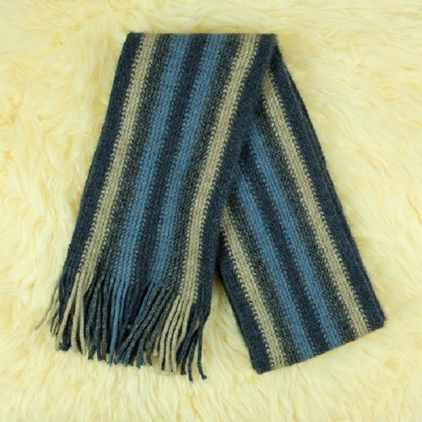 多彩直條紋【水藍】紐西蘭貂毛羊毛圍巾 特長單層保暖圍巾男用女用 圍巾,圍巾推薦品牌,保暖圍巾,羊毛圍巾