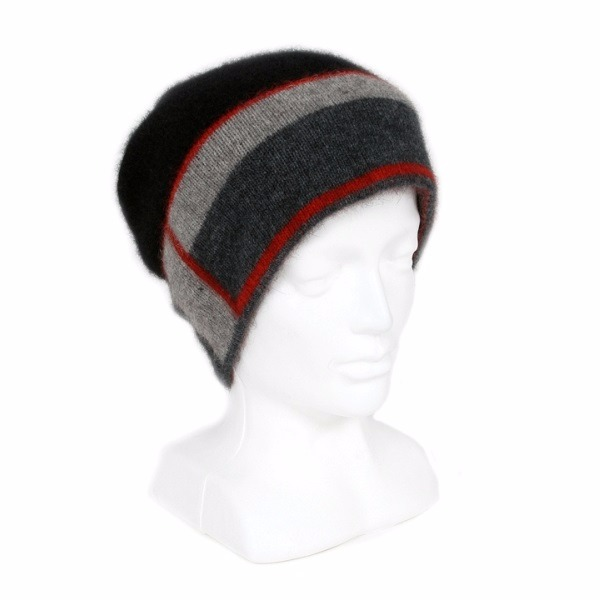 slouch垂墜風【紅灰炭黑】紐西蘭貂毛羊毛帽 保暖帽單層薄款-帽緣兩層-色塊條紋 毛帽,登山保暖帽推薦,保暖帽,防寒保暖帽,雪地帽