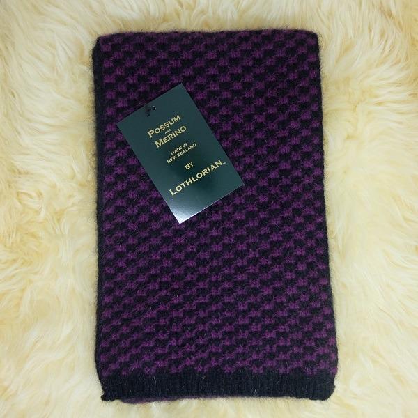 【紫莓X黑】千鳥格紐西蘭貂毛羊毛圍巾 雙色粗針織保暖圍巾男用女用