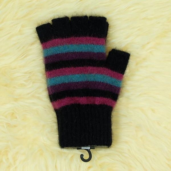 多彩條紋【寶石】紐西蘭貂毛羊毛露指手套 保溫輕量半指手套保暖 保暖手套,露指手套,羊毛手套,半指手套 保暖,半指手套女