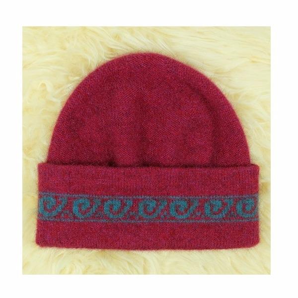 【覆盆子桃紅色】紐西蘭貂毛羊毛帽保暖帽男用女用 單層薄款-上折帽緣兩層-蕨葉圖案 毛帽,羊毛帽,保暖帽,羊毛配件,保暖帽推薦