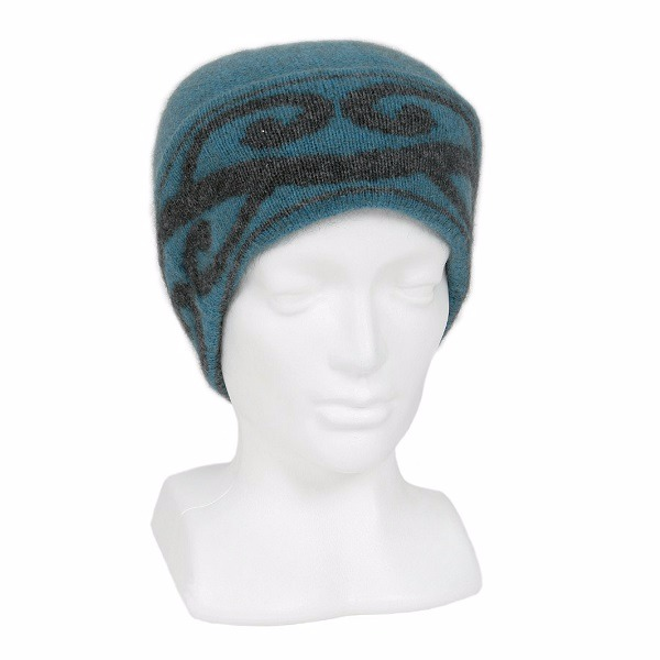 【藍綠色】紐西蘭貂毛羊毛帽保暖帽 單層薄款-上折帽緣兩層-心型蕨葉 毛帽,羊毛帽,保暖帽,保暖帽登山推薦,羊毛配件