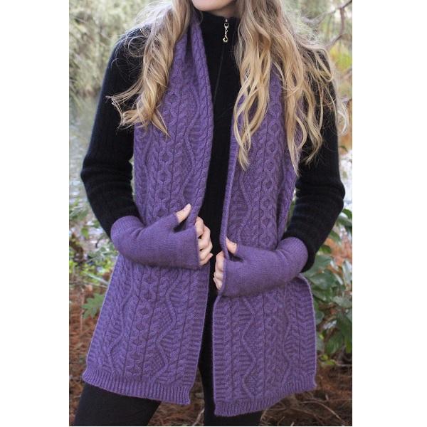 【紫】特寬華麗編織紐西蘭貂毛羊毛圍巾 _手織感毛線編織圍巾保暖圍巾 圍巾,保暖,保暖圍巾,羊毛圍巾