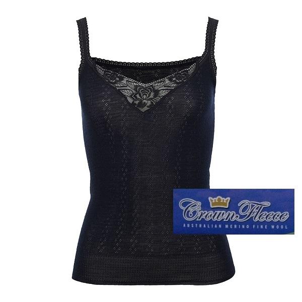 【細肩帶】澳洲皇冠女裝100%純羊毛衛生衣 蕾絲V領黑色細肩帶無袖衛生衣 羊毛衛生衣,保暖衣,美麗諾羊毛