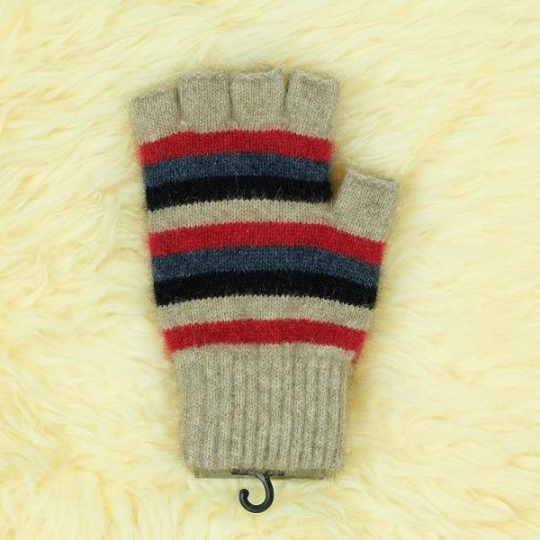 多彩條紋【紅】紐西蘭貂毛羊毛露指手套 男用女用保溫輕量半指手套保暖 保暖手套,露指手套,羊毛手套,半指手套 保暖