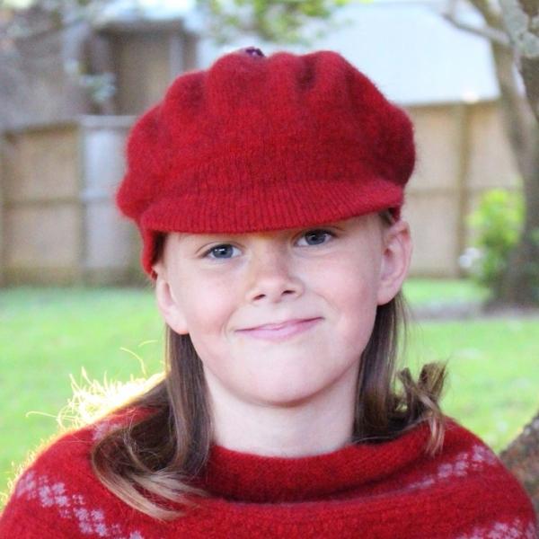 紅色兒童保暖帽紐西蘭貂毛羊毛帽貝蕾帽 毛帽,貝蕾帽,報童帽,兒童 保暖帽