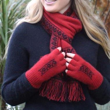 蕨葉【深紅】紐西蘭貂毛羊毛露指手套 保溫輕量半指手套男女保暖手套 露指手套,半指手套男,半指手套 保暖,保暖手套