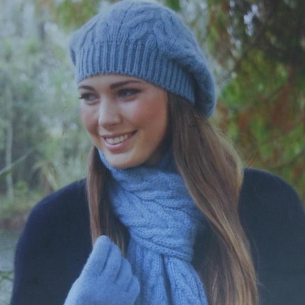 霧藍100%紐西蘭駝羊毛貝蕾帽麻花粗針織保暖帽  毛帽,毛線帽,保暖帽,羊毛帽,羊毛配件