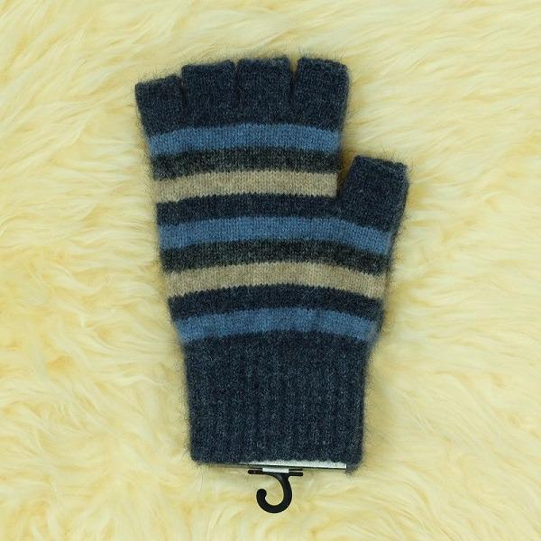 多彩條紋【水藍】紐西蘭貂毛羊毛露指手套 男用女用保溫輕量半指手套保暖
