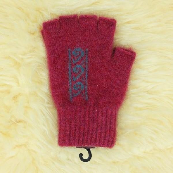 蕨葉【覆盆子桃紅】紐西蘭貂毛羊毛露指手套 保溫輕量半指手套女用保暖手套 露指手套,保暖手套,半指手套,半指手套 保暖,半指手套女