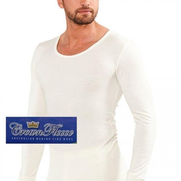 厚款米白澳洲皇冠男裝100%純羊毛衛生衣 圓領透氣衛生保暖衣衛生衣天然吸濕排汗 純羊毛衛生衣,衛生衣,保暖衣,吸濕排汗