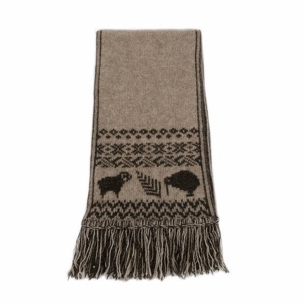 【奶茶X棕褐】圖騰雙面紐西蘭貂毛羊毛圍巾 雙面圍巾雙層保暖圍巾男用女用 圍巾,羊毛圍巾,圍巾推薦品牌,保暖圍巾