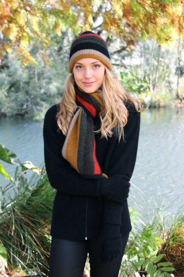 寬版彩色條紋【金色】紐西蘭貂毛羊毛圍巾 男用女用保暖圍巾