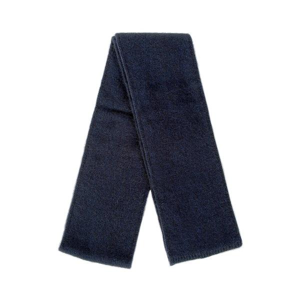 午夜藍雙層紐西蘭貂毛羊毛圍巾(長180公分) 秋冬保暖圍巾男用女用柔軟蓬鬆輕量
