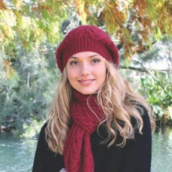 【桃紅】麻花粗針織紐西蘭貂毛羊毛貝蕾帽兔毛球 毛線帽保暖帽毛球帽