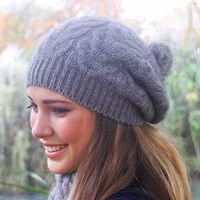 【銀灰】麻花粗針織紐西蘭貂毛羊毛貝蕾帽兔毛球 毛線帽-保暖帽-毛球帽 毛線帽,貝蕾帽,保暖帽推薦,羊毛帽,保暖帽