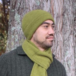 紐西蘭貂毛羊毛帽*橄欖綠*雙層保暖帽男用女用 保暖帽,保暖帽男,保暖帽女,羊毛帽