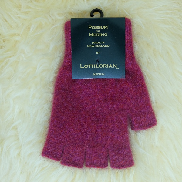 【覆盆子桃紅】紐西蘭貂毛羊毛手套保暖露指手套 保溫輕量半指手套保暖手套 保暖手套,羊毛手套,半指手套 保暖,露指手套