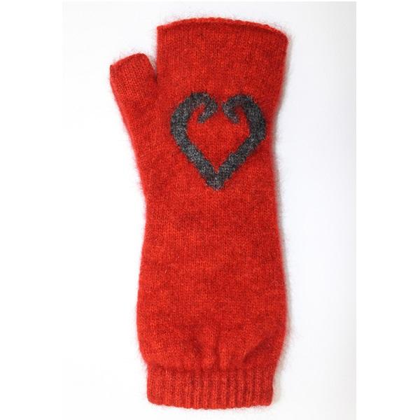 愛心蕨葉【南瓜紅】紐西蘭貂毛羊毛袖套手套 保暖露指手套-美型袖套造型女用手套 保暖手套,袖套,羊毛手套,露指手套