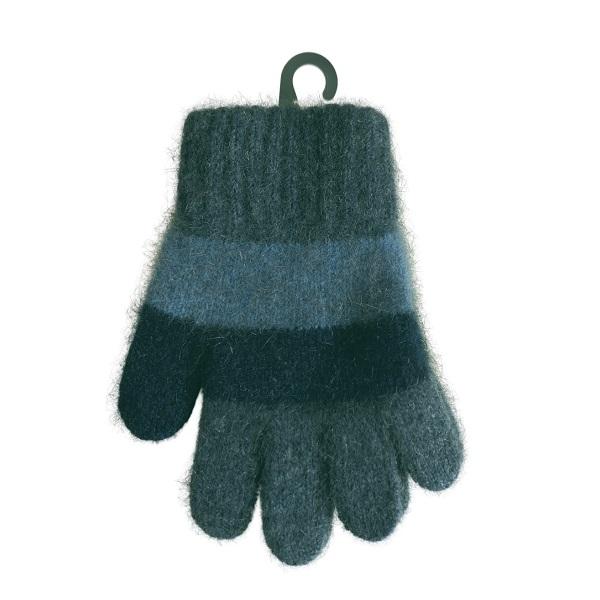 兒童多彩條紋【水藍】紐西蘭貂毛羊毛保暖手套
