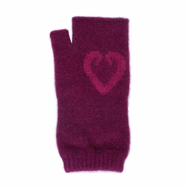 愛心蕨葉【紫莓】紐西蘭貂毛羊毛袖套手套 保暖露指手套-美型袖套造型女用手套 保暖手套,袖套,羊毛手套,露指手套