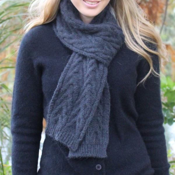 深灰100%紐西蘭駝羊毛保暖圍巾麻花粗針織 圍巾,保暖,保暖圍巾,羊毛圍巾