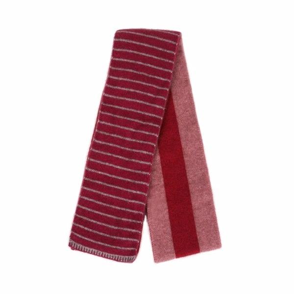 【粉桃灰莓】雙面條紋紐西蘭貂毛羊毛圍巾 雙層保暖圍巾男用女用 羊毛圍巾推薦,保暖圍巾,羊毛圍巾,圍巾女