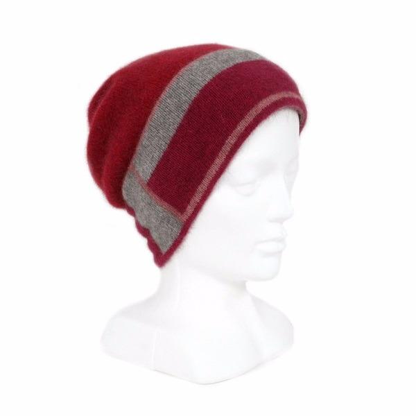 slouch垂墜風【粉桃灰莓】紐西蘭貂毛羊毛帽 保暖帽單層薄款-帽緣兩層-色塊條紋 羊毛配件,毛帽,羊毛帽,保暖帽,保暖帽登山推薦