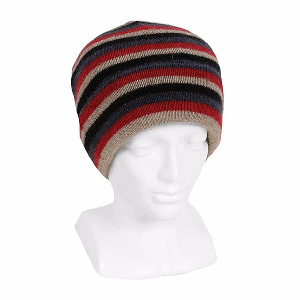 多彩條紋【紅】紐西蘭貂毛羊毛帽 雙層保暖帽-男用女用 毛帽,登山保暖帽推薦,保暖帽,防寒保暖帽,雪地帽