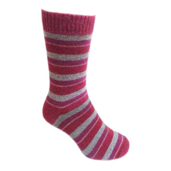 多彩條紋【粉桃灰莓】紐西蘭貂毛羊毛襪保暖襪 女用冬季保暖襪休閒襪 保暖襪,毛襪,羊毛襪,雪地襪