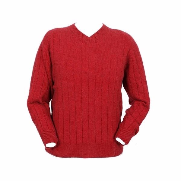 深紅色【男裝】V領立體條紋織法紐西蘭貂毛羊毛長袖毛衣 套頭毛衣男V領毛衣冬季保暖毛衣推薦