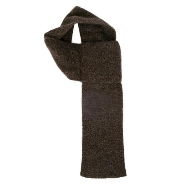 【棕褐色】紐西蘭貂毛羊毛圍巾(窄版12公分) 輕巧保暖圍巾懶人圍巾-男用女用