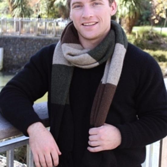 多彩色塊【棕綠】雙層紐西蘭貂毛羊毛圍巾 特長220公分保暖圍巾男用女用 保暖圍巾,圍巾男,圍巾,羊毛圍巾,圍巾推薦品牌