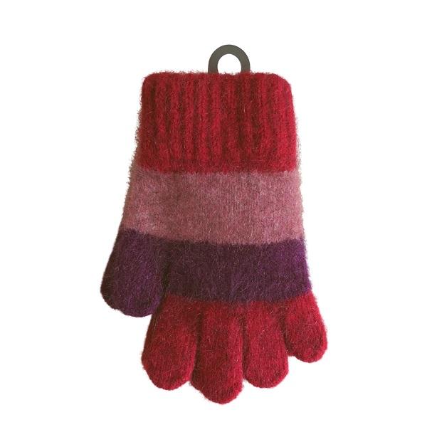 兒童多彩條紋【粉紅】紐西蘭貂毛羊毛保暖手套