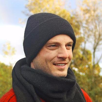 紐西蘭貂毛羊毛帽*黑色*雙層保暖帽男用女用 毛帽,保暖帽,羊毛帽,保暖帽推薦,保暖帽登山
