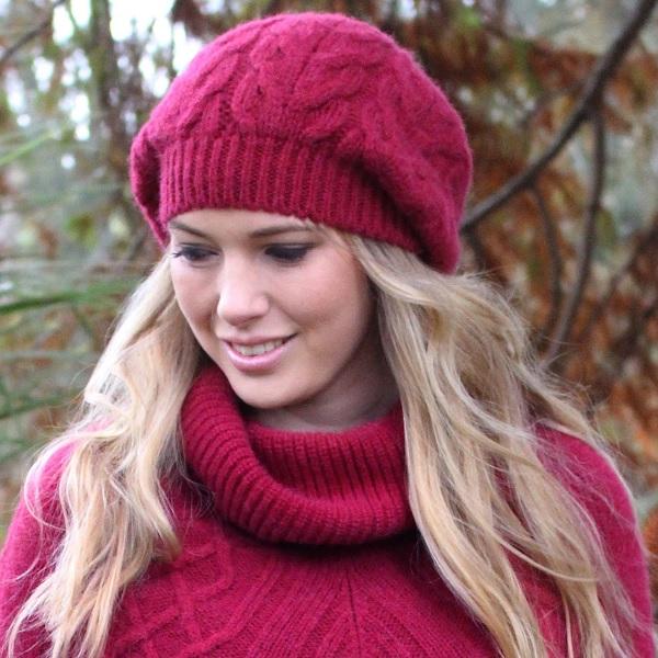 酒紅100%紐西蘭駝羊毛貝蕾帽麻花粗針織保暖帽 毛帽,毛線帽,保暖帽,羊毛帽,羊毛配件