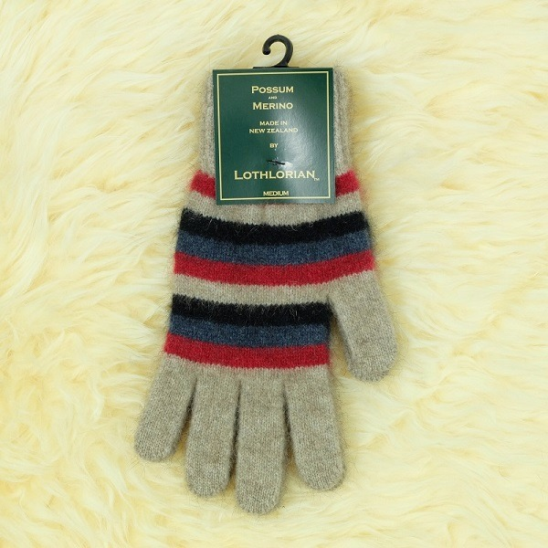 多彩條紋【紅】紐西蘭貂毛羊毛手套保暖手套 高保溫輕量男用手套女用手套 羊毛手套,保暖手套,防寒手套,手套男,手套女