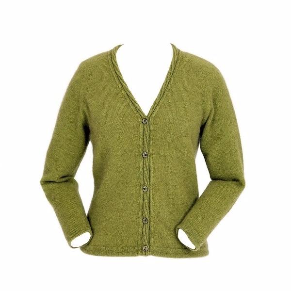 橄欖綠V領開扣紐西蘭貂毛羊毛長袖開襟羊毛衣