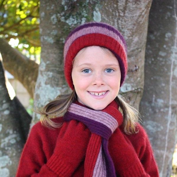 兒童保暖帽多彩條紋【粉紅】紐西蘭貂毛羊毛帽
