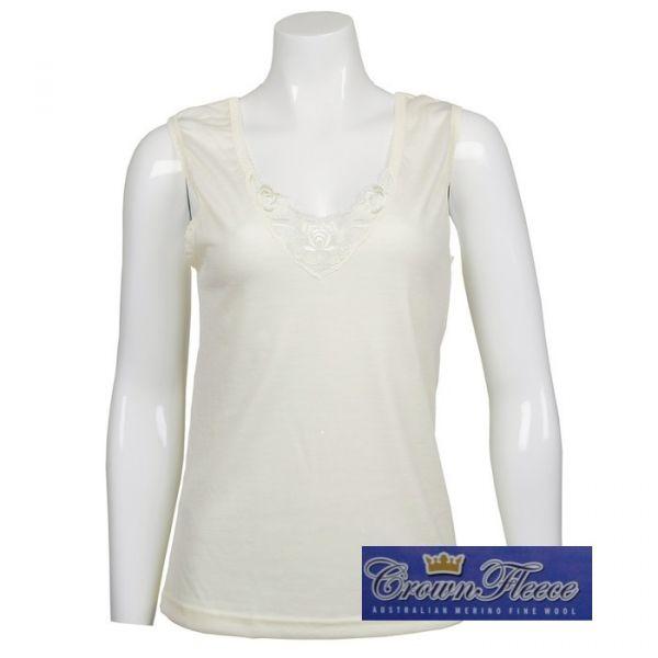 光澤輕薄款【無袖】澳洲皇冠女裝100%純羊毛衛生衣 蕾絲大V領無袖背心式衛生衣 羊毛衛生衣,保暖衣,美麗諾羊毛