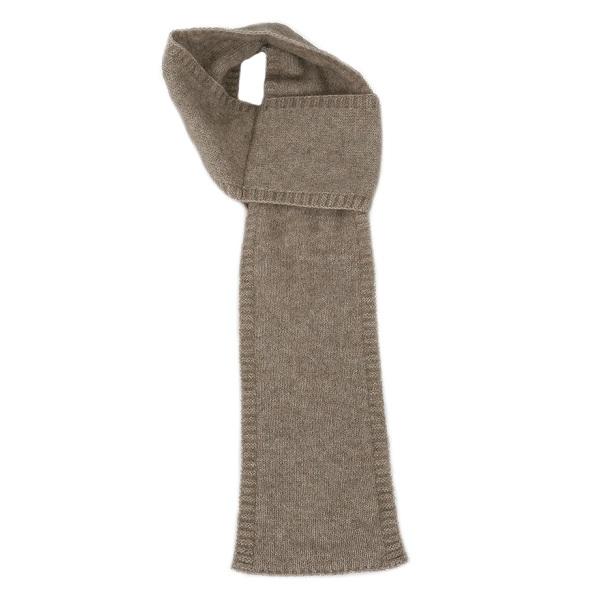 【奶茶】紐西蘭貂毛羊毛圍巾(窄版12公分) 輕巧保暖圍巾懶人圍巾-男用女用