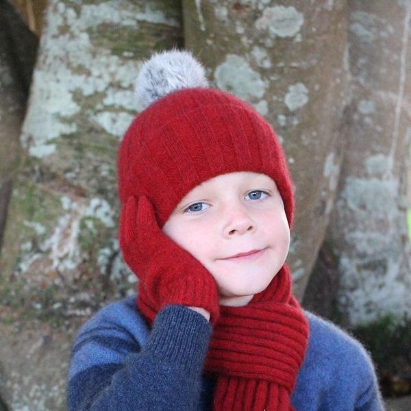 兒童保暖帽紐西蘭貂毛羊毛兔毛球帽深紅 保暖,美麗諾羊毛,保暖帽,兒童 保暖帽