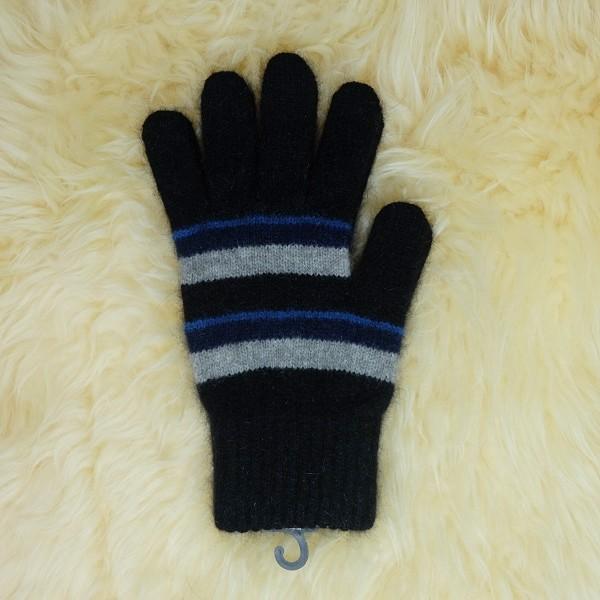 粗細條紋【藍灰黑】紐西蘭貂毛羊毛手套保暖手套 高保溫輕量男用手套女用手套 羊毛手套,保暖手套,防寒手套,手套男,手套女
