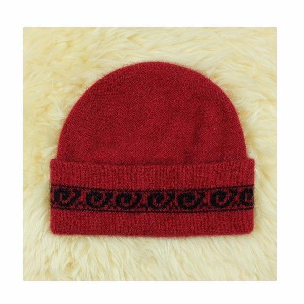 【深紅色】紐西蘭貂毛羊毛帽保暖帽男用女用 單層薄款-上折帽緣兩層-蕨葉圖案 毛帽,羊毛帽,保暖帽,羊毛配件,保暖帽推薦