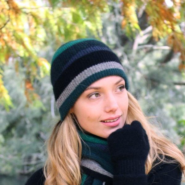 羅紋單層薄款【藍綠】紐西蘭貂毛羊毛帽 高彈性羅紋-版型小服貼型-彩色條紋
