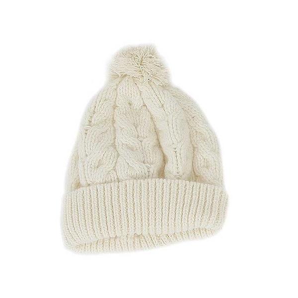 毛線球麻花【米白色】紐西蘭美麗諾羊毛帽 粗針織手織感毛線帽保暖帽毛球帽 羊毛帽,毛球帽,保暖帽,毛線帽,羊毛配件